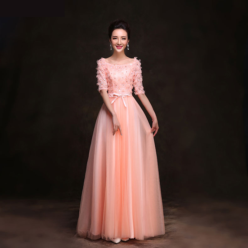 Aliexpress.com : Buy Elegant Boat Neck Tulle Flowers Long Evening ...