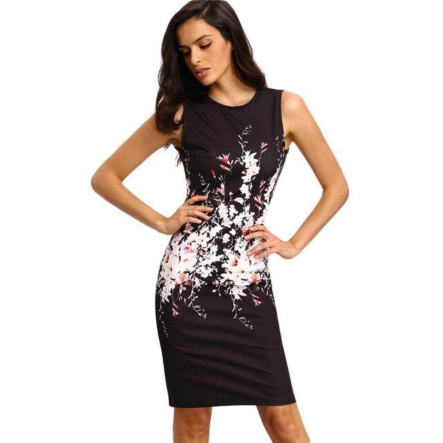 Nouveau Style D été Moulante Robes Vintage Dames Sexy Fitness Imprimé  floral Manches Ras Du 0de9f68a0fc2