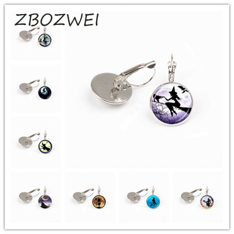 ZBOZWEI Sexy Witch with Broom earring Full Moon earring Wiccan Pagan Jewelry Glass Cabochon Sweater earring Cat Jewellery gift