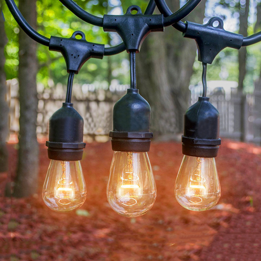 Thrisdar 9M S14 Globe LED String Lights with 10PCS E27 Filament Bulb Outdoor Garden Patio Commercial Grade Street String Lights