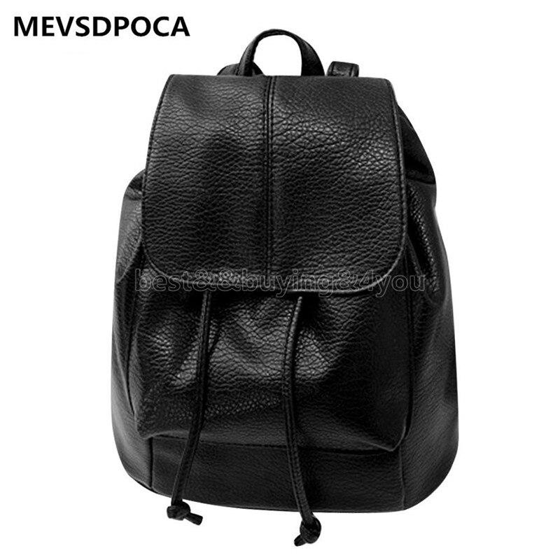 MEVSDPOCA Women Backpack Leather Drawstring Satchel Shoulder Soft PU Travel School