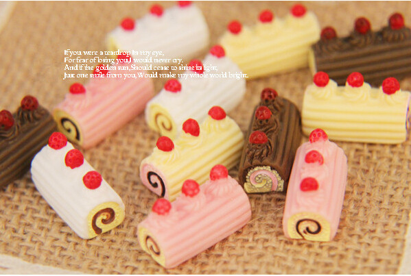 50pcs/10*20mm cute resin Strawberry cream cakes Fake Faux food Resin crafts flat back cabochon for phone hair deco