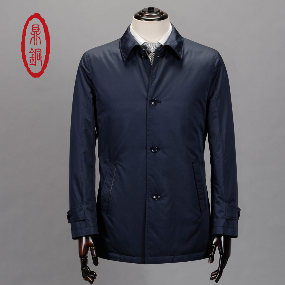 DINGTONG Brand Spring Autumn Lightweight Mens Duck Coat Men Dark Blue Overcoats Mid-Aged Business Causal Winter Jacket coat 2017 spring autumn lightweight men