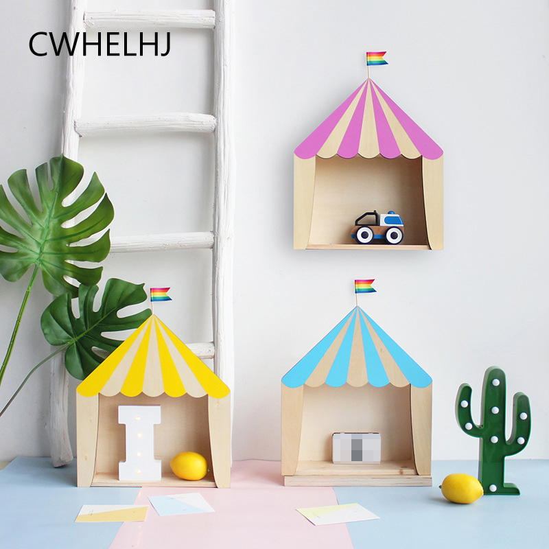 Nordic Wooden House Wall Hanging Box/Shelf Decoration For Kids Baby Room Decor Miniature Ornaments Photography Props Crafts Gift