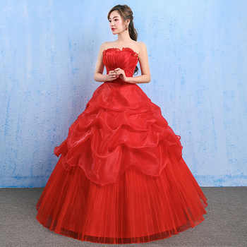 YC73#Lace up Bride \'s Wedding dress red Ball Gown wholesale cheap dresses New spring summer 2019 Floor-Length