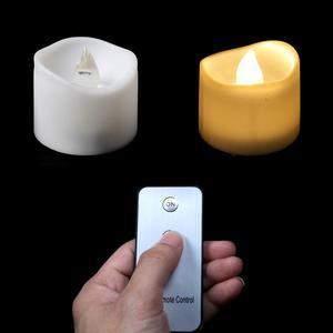 Image 2 - パックの 3 ウォームホワイトライトリモート candele 、黄色ちらつき velas perfumadas 、フレームレスちらつきキャンドル家の装飾