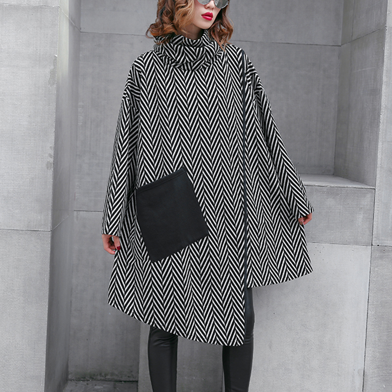 HTB1BIwhXVzsK1Rjy1Xbq6xOaFXa5 - [EAM] 2019 New Spring Winter High Collar Long Sleeve Black Striped Split Joint Irregular Hem Pocket Dress Women Fashion JL300