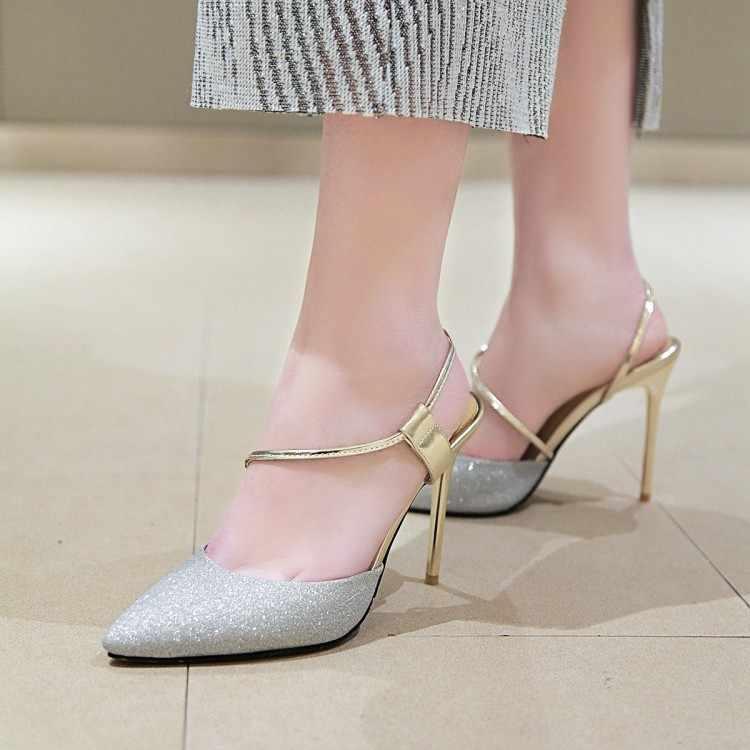 Große Größe high heels sandalen frauen schuhe frau sommer damen Mode von Streifen Schuhe mit hohen absätzen mit Fein Heels