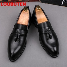LOUBUTEN Black Soft Leather Men Loafers Fashion Pointed Toe Tassel Men Shoes Breathable Slip On Mens Shoes Casual Flats loubuten loafers men slip on suede leather shoes mens loafers with bow knot luxury dress shoes fashion men s smoking flats