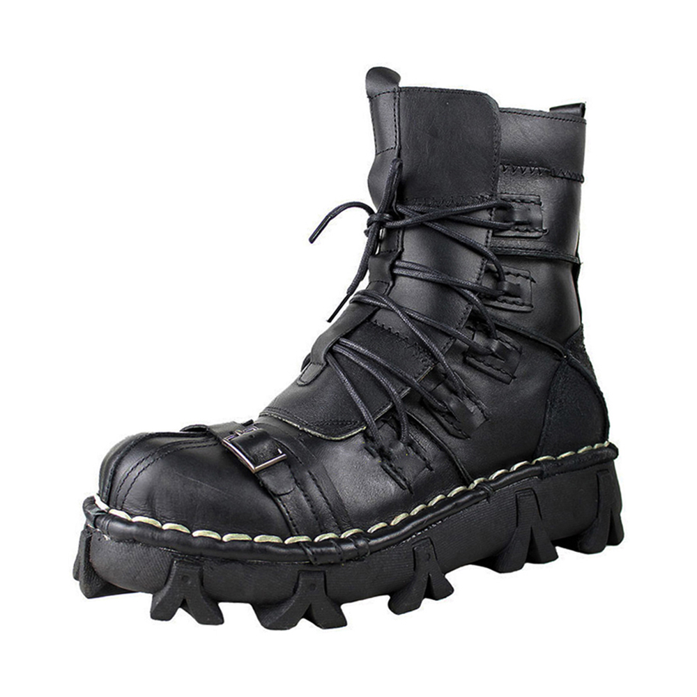 New Motorcycle Boots Retro Genuine Cow Leather Skull Punk Shoes Men Motorbike Biker Moto Boots Protective