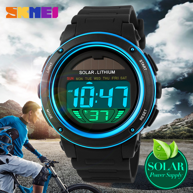 2016 Men's Solar Digital Watch Men Sports Watches Relogio Masculino Relojes Reloj SKMEI Brand Military Waterproof Wristwatches купить в Москве 2019