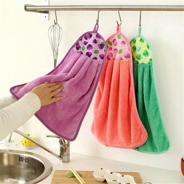 Bon New Creative Hand Towels Coral Velvet Thickening Super Absorbent Hanging  Kitchen Towel Quality 3 Pcs Quality
