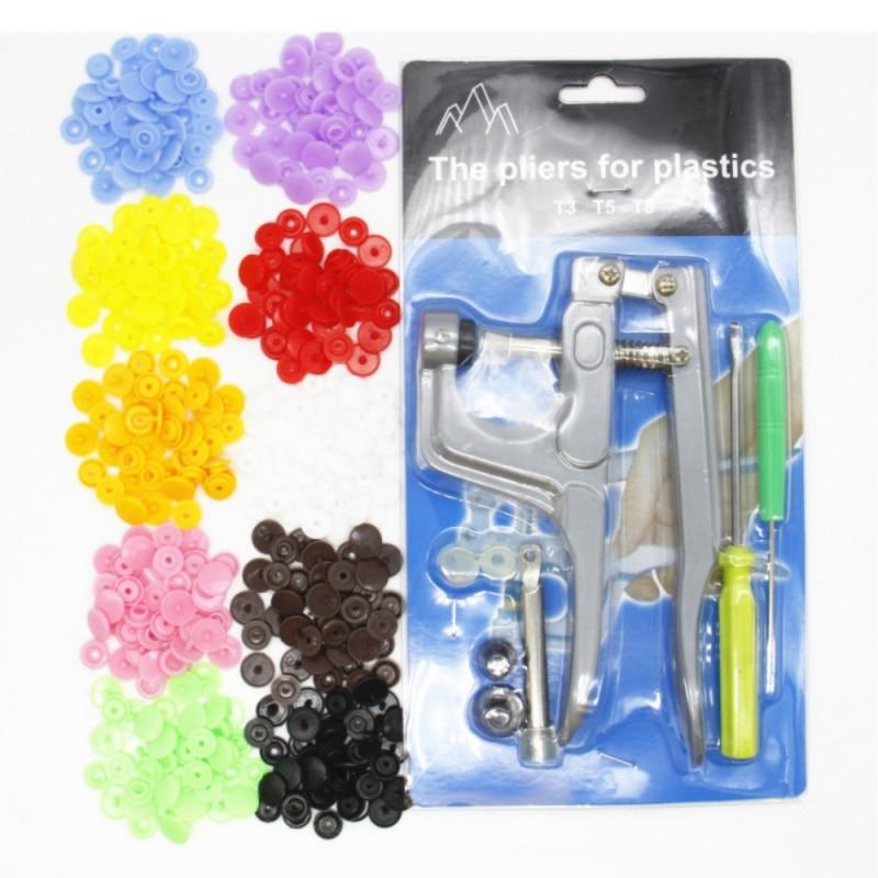 Metal Press Pinze Strumenti Artigianato Utilizzato per T5 Kam Button Fastener Snap Pinza + 100 pz T5 Plastica Resina Bottoni a pressione di Stoffa pannolino