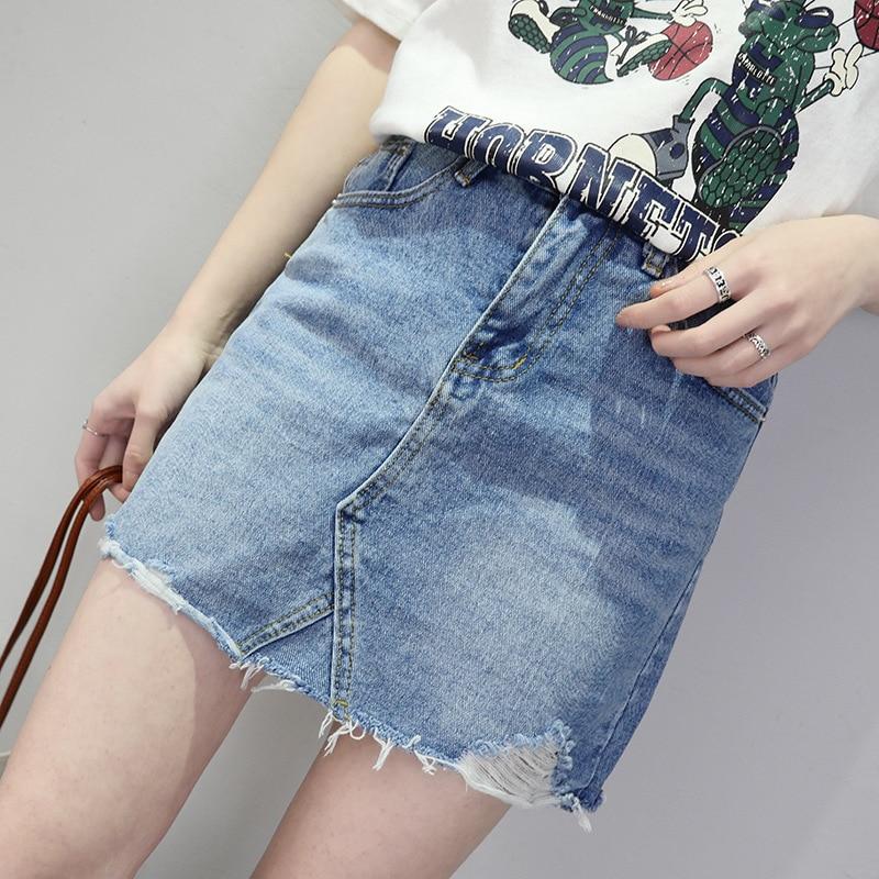 Spring-summer Womens denim skirt high waist Euro-American fashion casual mini-skirt with pockets and hole