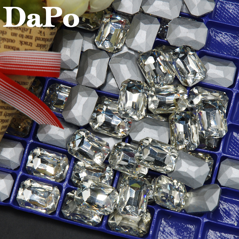 Crystal Clear Color Multiple Sizes 6x8mm~18x27mm Glass Crystal Rectangle Octagon Shape Pointback Rhinestones For Garment Clothes