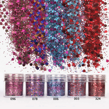 Shellhard 5 Cajas / Set Chunky Glitter 10 ml Flake Face Eye Body DIY Nail Art Tips Decoración para el Arte del clavo
