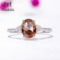 Kuololis Zultanite кольцо с драгоценными камнями для женщин, Твердое Серебро 925 пробы, создающее цвет, меняющий камень, свадебные украшения для помол...