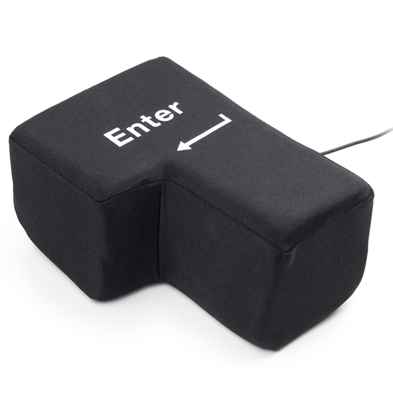 USB Big Enter Key Anti Stress Relief Supersized Enter Key Office Desk Foam Nap Pillow Stress Reliever Supersized PillowsJJPS