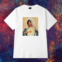 Women's Angel Virgin Mary Hip Hops T Shirt Short Sleeved Harajuku White T-shirt Tops