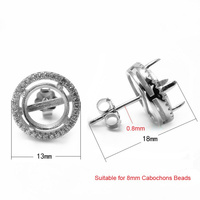 Sterling Silver Micro Pave Zircon Stone Round Stud Earring Tray Cabochon Base Setting DIY Jewelry Findings Components SEA-ES004