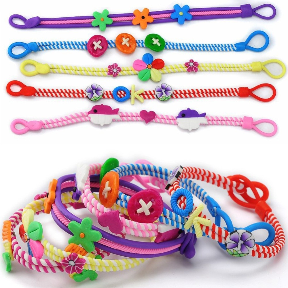 12pcs/lot Trendy Lovely Beautiful Colorful Soft Pottery Cuff Bracelet For Girls Kids Jewelry Gifts Accessories Random Delivery