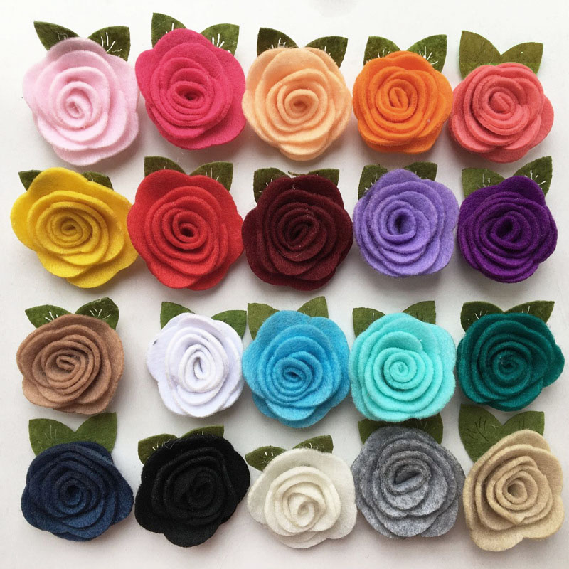Handmade Felt Rose Flower Diy for BabyGirl Hair accessories Headband ToddlerHats Hair Band Ornaments 4CM Photo Props 20Pcs/Lot