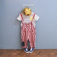 good quality spring and summer child stripe bib pants cotton cloth comfortable baby boy trousers all match