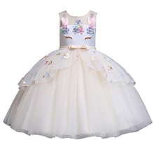 2019 Flower Unicorn Girls Dress Princess Party Gown Tutu Tulle Kids Dresses for Birthday Outfit