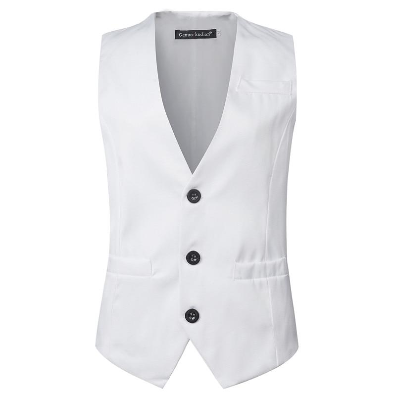2019 New Spring Summer Men Vest Fashion Sleeveless White Business Casual Waistcoat Men Tops Vest Gilet Men Size M-XXXL