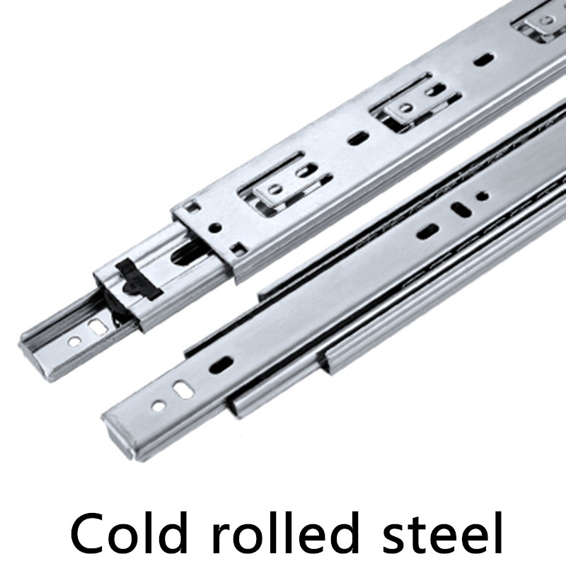 1 Pair HG45V Silver color Three Sections Drawer Track Slide Guide Rail accessories for Furniture Slide Hardware Fittings 2 pair 12 inches 30cm three sections slide guide rail drawer track accessories for furniture slide hardware fittings