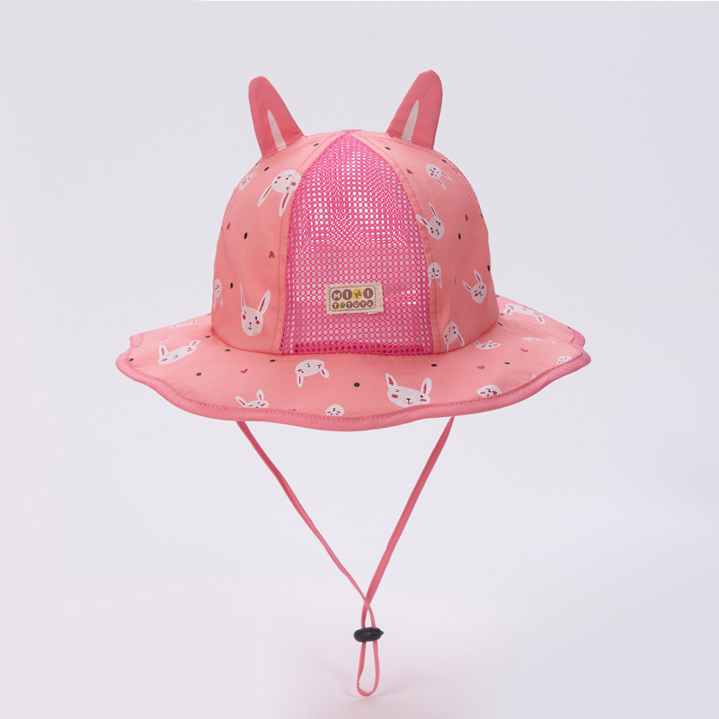 ab2e4d5e66d Cute Baby Bucket Hat Rabbit Print Summer Mesh Hat For Boys Girls Baby Sun  Cap With Ears Breathable Cotton Baby Girls Clothing
