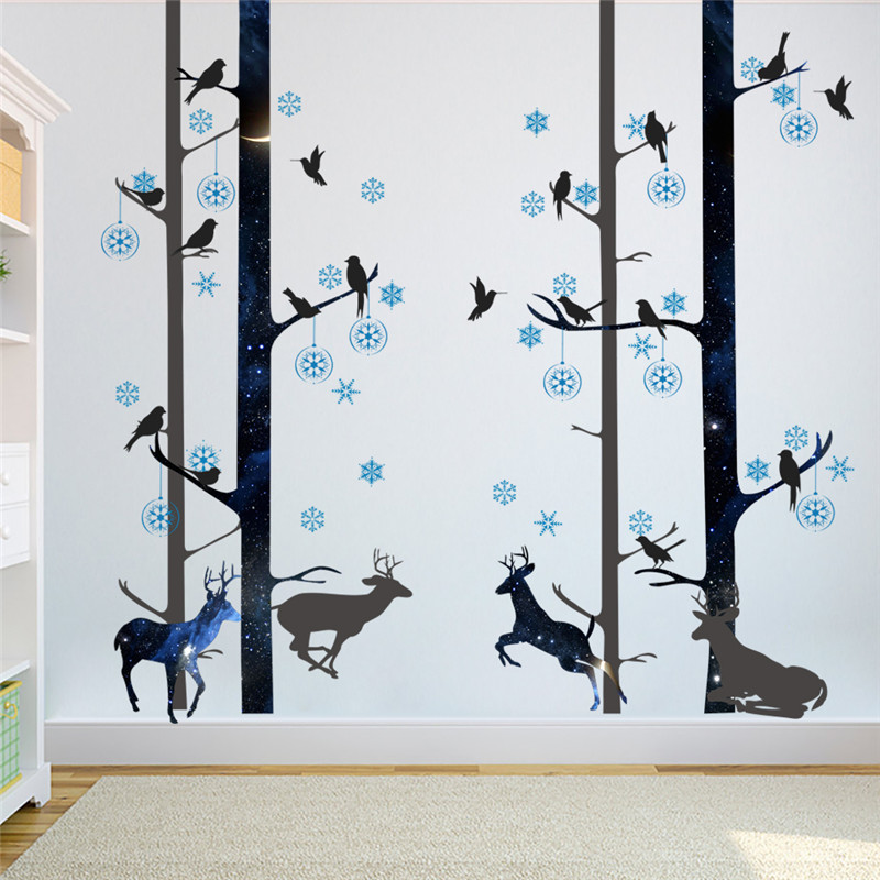 Wald Schwarze Tiere Deer Vogel Baum Wandaufkleber Wohnzimmer Schlafzimmer Dekoration Adesivo De Paredes Wandtattoos Wand Kunst