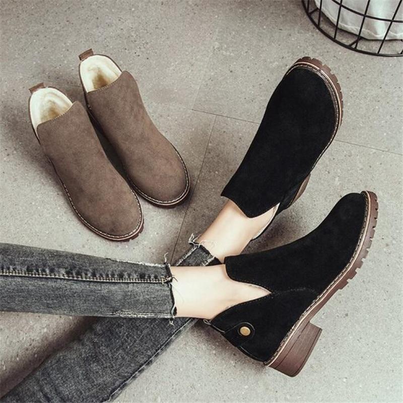 Moda Mate Nueva Corta Elgeer Bajo Conjunto 02 Botas Zapatos Redonda 01 Con Casuales Invierno Engrosamiento Calientes Mujeres Retro Las Británico Cabeza De f58qTw8
