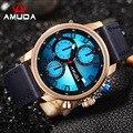 Top Luxury Brand AMUDA Casual Watch Men Sport Quartz Watches Men Leather Strap Waterproof Military Wristwatch Relogio Masculino