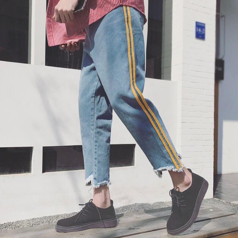 2018 BLUE Edge Ripped Biker Jeans Men Denim Super Loose Slim Casual Harem Pants Boy Big Pocket Scratched Ripped Trousers