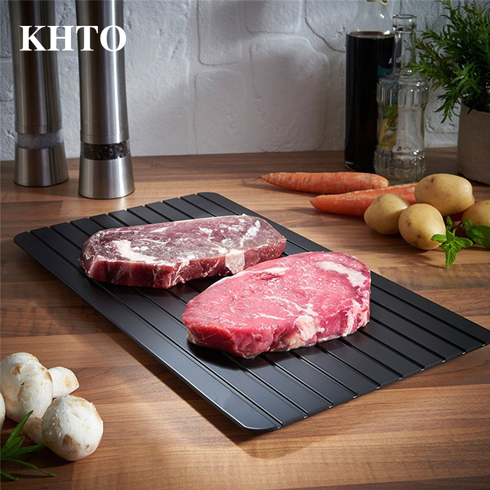 KHTO Black Defrost Tray The Quickest and Safest Way to Thaw Meat and Frozen Food Electricity Chemicals Microwave