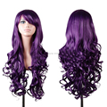Purple Anime Wigs Air Volume High Temperature Curly Long Hair Silk Wig Cosplay 80CM For Women HB88