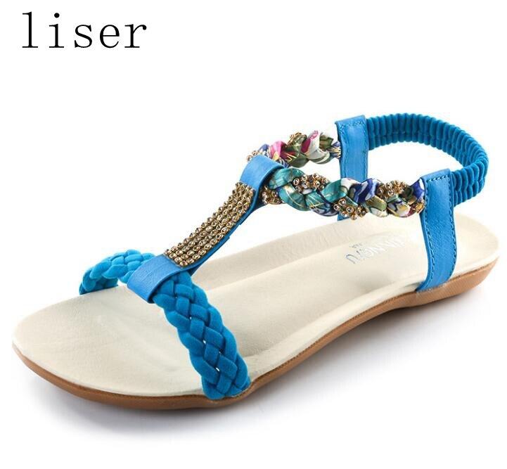 liser sandalias de boquilla de diamantes de imitación tejidas - Zapatos de mujer