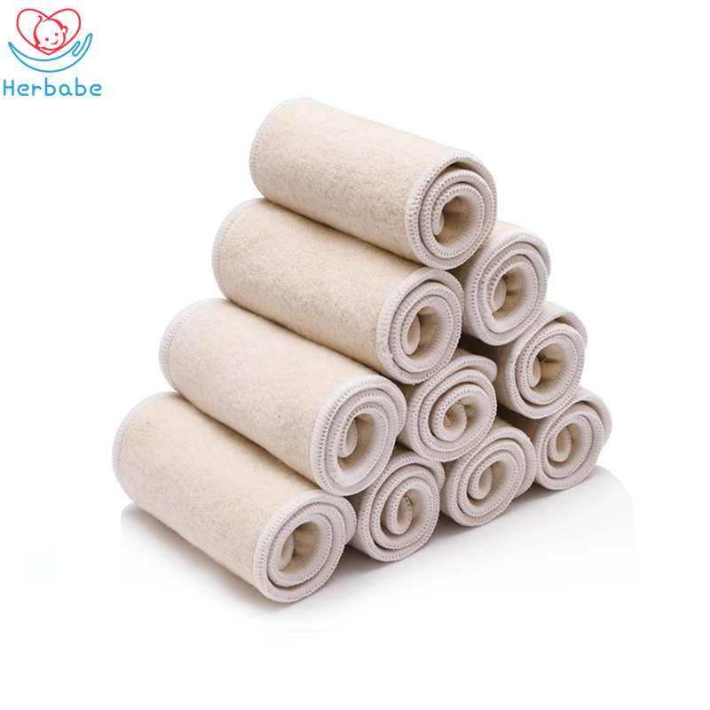 Herbabe 5pcs Reusable Hemp Diaper Inserts For Newborn Infant Washable Pocket Cloth Diapers Nappy Changing Liners Accept Dropship