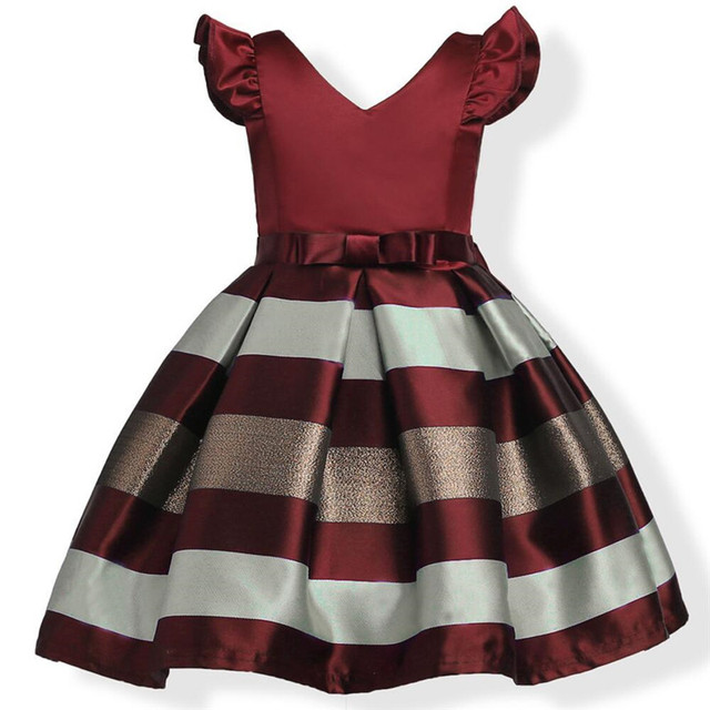 Hot Sell Baby Girl Formal Bow Dresses Female Kids A-line Sleeveless Princess Stripe Cotton V-Neck Dress Childrens Clothes&Belt