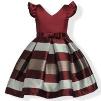 Hot Sell Baby Girl Formal Bow Dresses Female Kids A Line Sleeveless Princess Stripe Cotton V