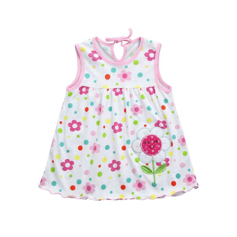 summer Sleeveless dresses Toddler Cute Baby Cotton dress Flower Children cartoon Print Tees Dress clothing hot sale 2018
