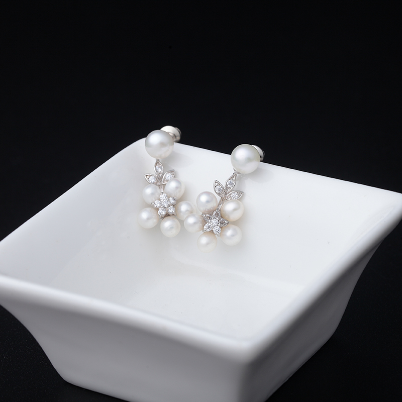 LUOTEEMI Mewah 5 pcs Mutiara Air Tawar Alami Pernyataan Stud Earrings - Perhiasan fashion - Foto 3