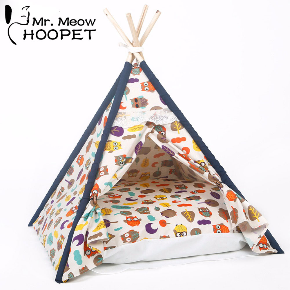 Hoopet Pet Bed All Seasons Pet Owl Printed Indoor Kennels Dog Cat Kitten Tent House Bed with Cushion Pet Burrow Kittey Cozy Cave