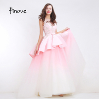 Finove Light Pink Beading Prom Dresses Two Layers Bow Belt 2017 New Flowers Appliques Floor Length