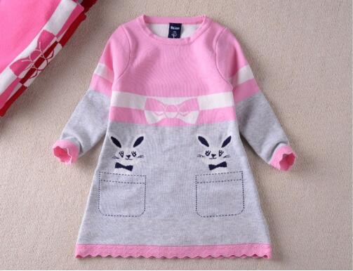 2016 Autumn & Winter New Double-layer Long-sleeve Kids Rabbit Clothing, Thick Girl Rabbit Sweater Dress for Children 4-8 Years t100 children sweater winter wool girl child cartoon thick knitted girls cardigan warm sweater long sleeve toddler cardigan