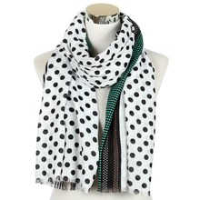 New Fashion White Navy Polka Dot Scarf Shawl For Women Ladies Long Wrap Scar