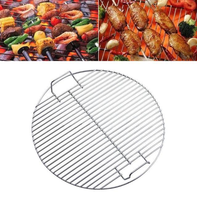 Redondo antiadherente resistente al calor Acero inoxidable barbacoa rejilla cocina herramienta de Camping al aire libre