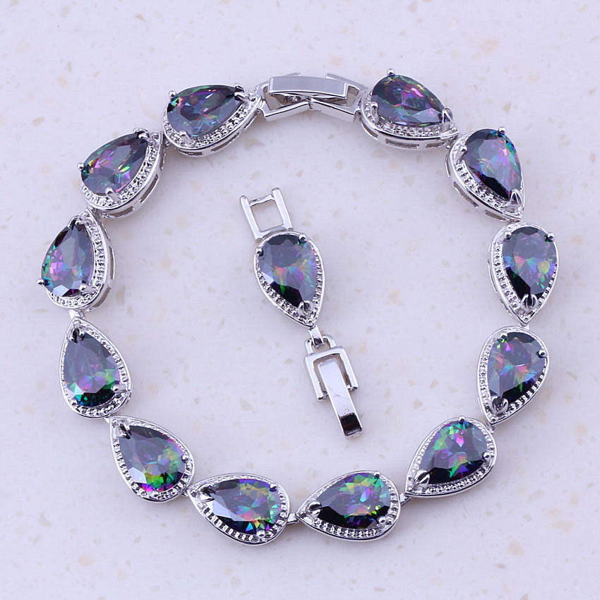 Precious Rainbow Mystic Zirconia Silver Color Trendy Charm Bracelets For Women Wedding Best Fashion Jewelry D0084