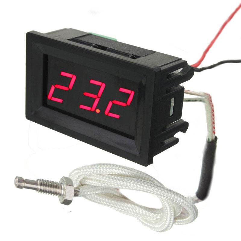 LED DC12V Digital Thermocouple Thermometer Temperature Meter 0~999 Celcius with Probe az8803 digital thermocouple thermometer with temperature range 50 1300 degree